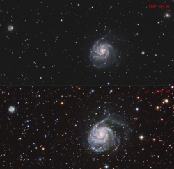 M101 from 2 different imaging systems